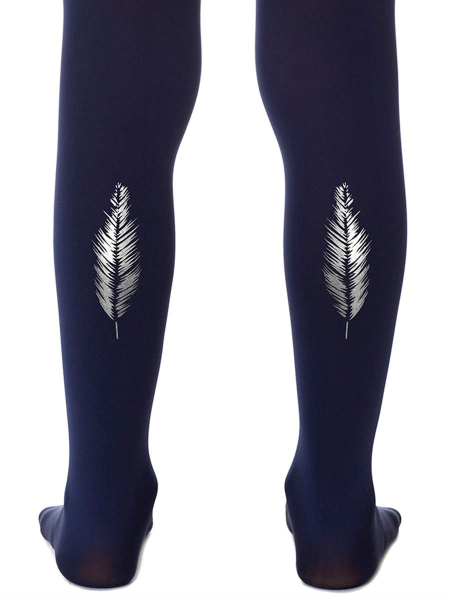 Silver Feather Navy Girls Tights
