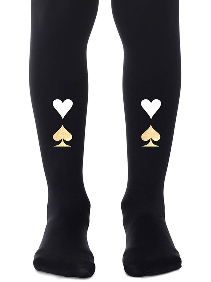 Queen of Hearts Girls Black Tights