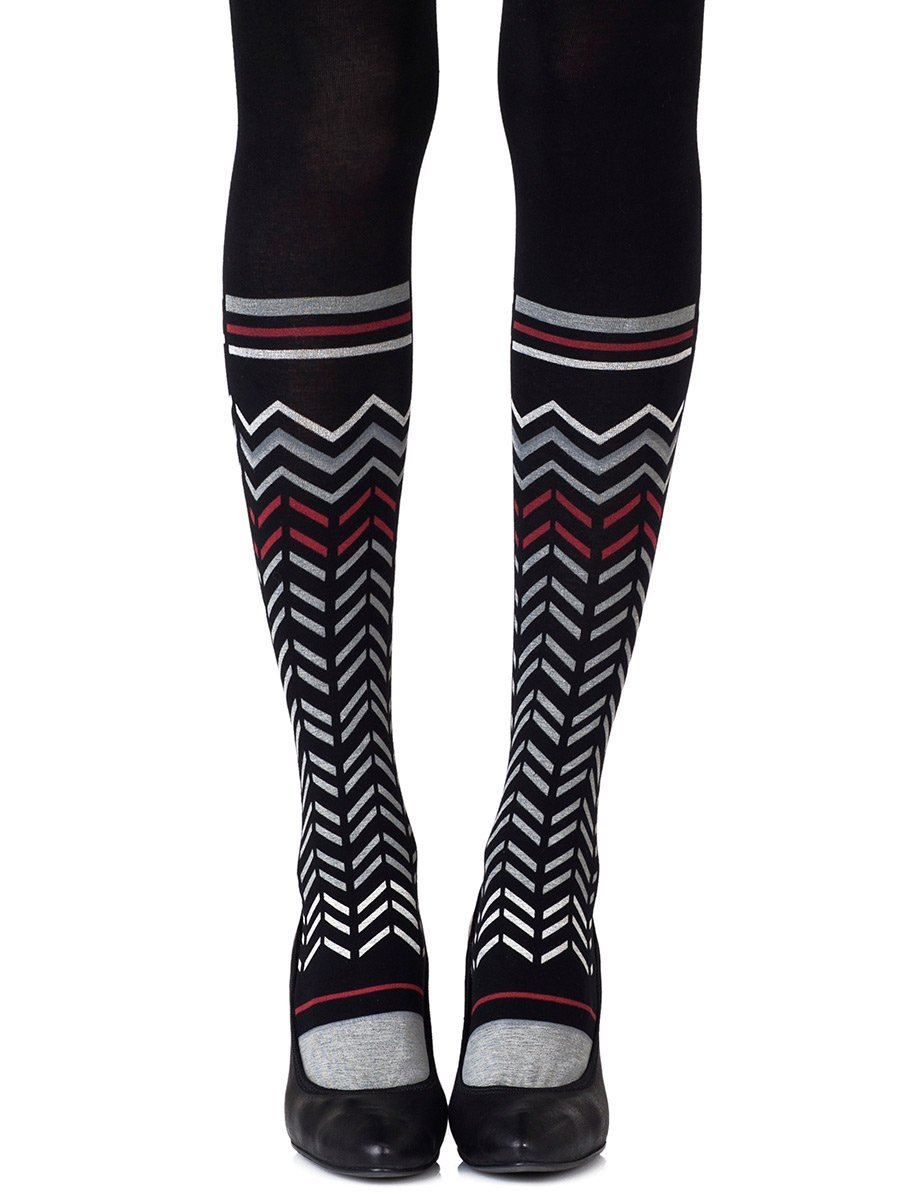Zig Zag Walk Black Tights