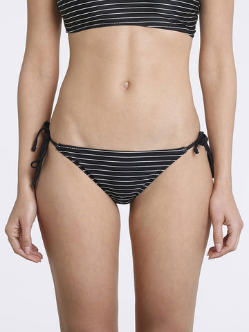 Black/White Stripes String Bikini Bottom