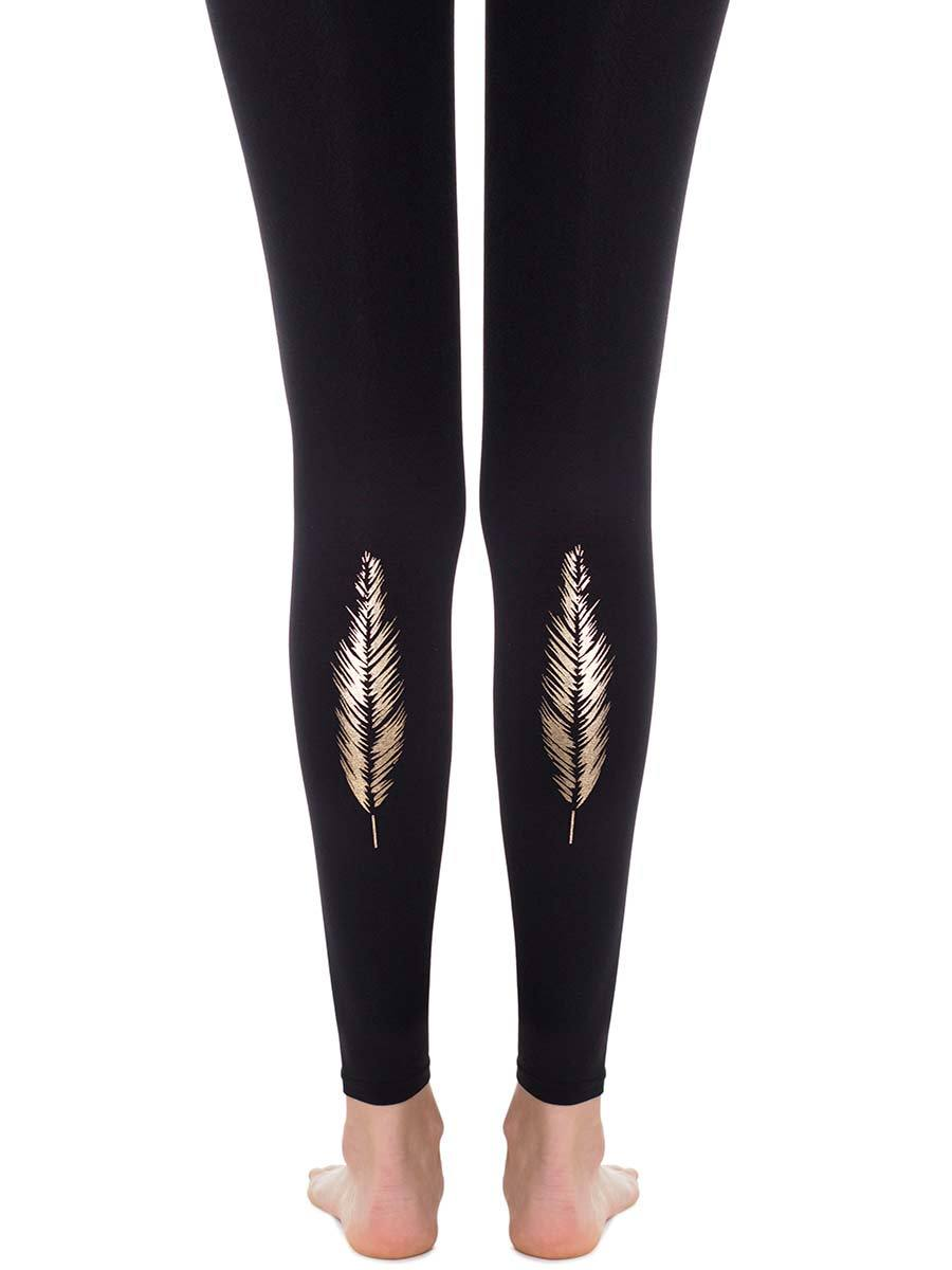 Gold Feather Black Footless Tights