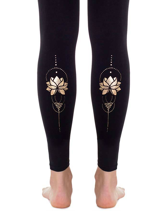 Gold Lotus Footless Tights