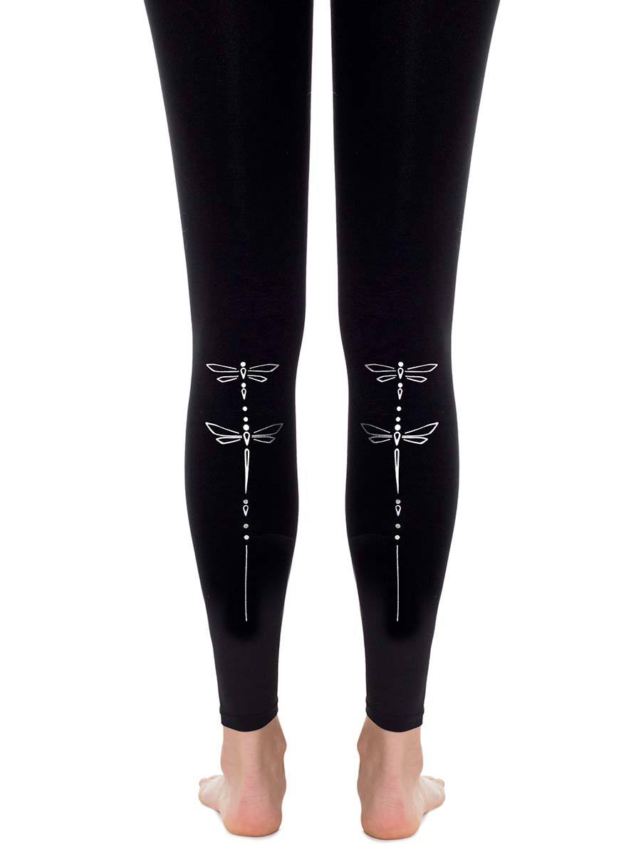 Dragonfly Black Footless Tights