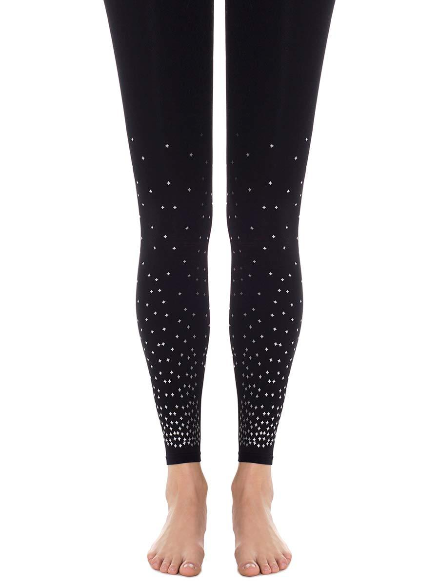 Silver Dot Black Footless Tights