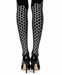 Beat Goes On Black Print Opaque Tights