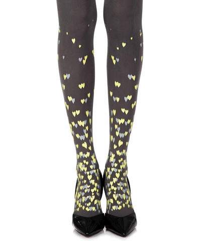 Queen Of Hearts Grey Print Opaque Tights