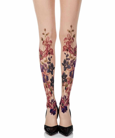 Should'Ve Bought You Flowers Powder Print Opaque Tights