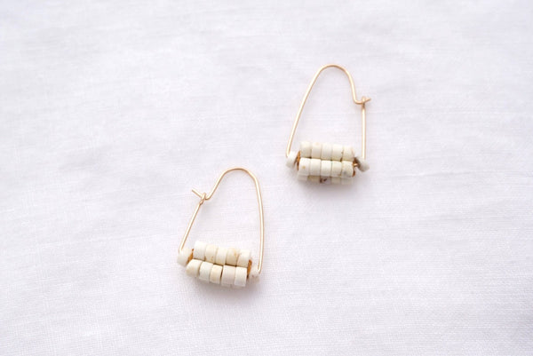 White Turquoise and Vintage Ocean Hoops