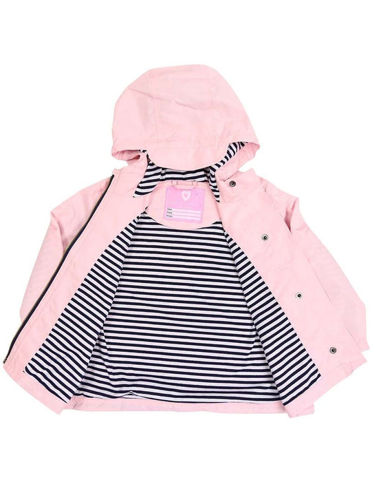 Pink raincoat with blue and white striped microfiber lining.