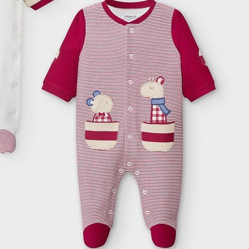 Striped Footie with Bear and Giraffe