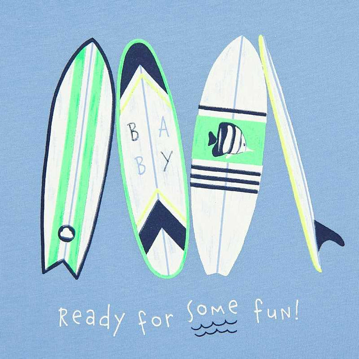 Surf boards T-shirt and Navy Shorts with Extra Muscle Shirt Set