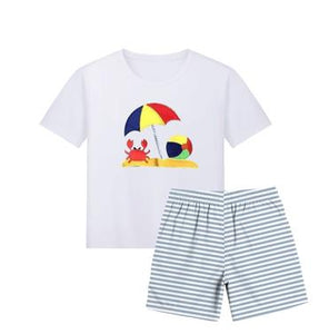Blue and White Crab with umbrella Shirt and Shorts Set