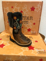 Black/ Brown with Flowers Boot