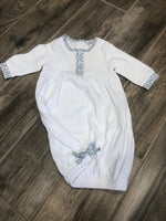 Cotton Gown with Flower Trim