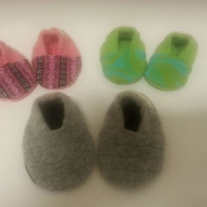 Babee Green Merino Wool and Cashmere Slippers