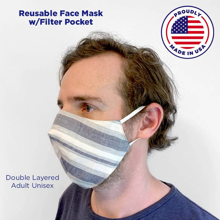 Adult Striped Mask with a Pocket