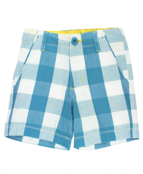 Peacock Blue Plaid Shorts