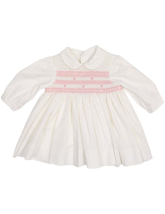 Hand Smocked/Embroidered Cotton Twill Dress & Blouse