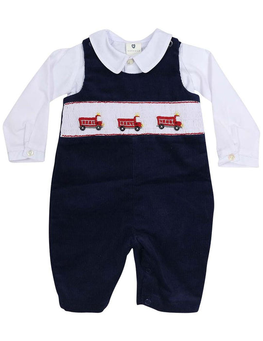 Fire Truck Corduroy Overall and Shirt