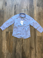 Blue Button Down Shirt with Polo Horses