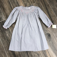 Grey and White Checked Smocked Dress