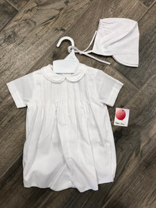 White Pleated Romper With Collar