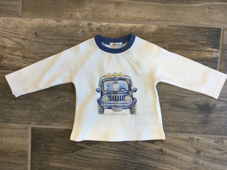 White Long sleeve Shirt with Jeep