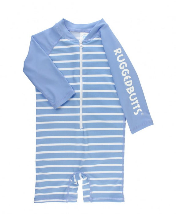 Cornflower Blue Stripe Long Sleeve One Piece Rash Guard