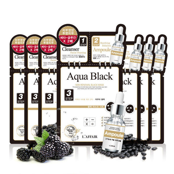 L'AFFAIR 3-Step Mask Pack-Aquablack (Set of 10) - SkincarePharm