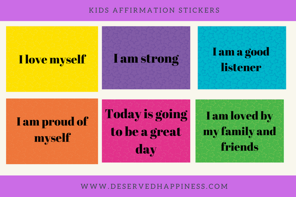 Kids Daily Affirmation Sticker sheets