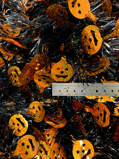 Tinsel Garland Pumpkin Face Novelty Halloween Themed Décor 15 Feet