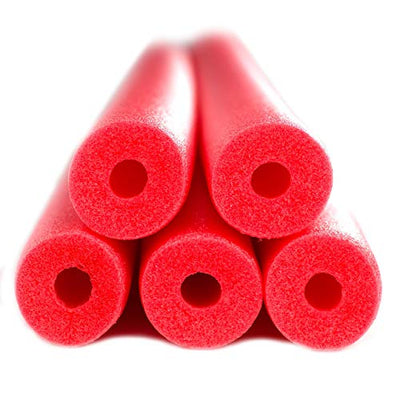 FixFind Bright Red 52 Inch Pool Swim Noodle 5 Pack
