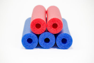 FixFind Blue and Red 52 Inch Pool Swim Noodle 5 Pack