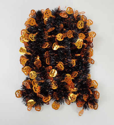 Tinsel Garland Pumpkin Face Novelty Halloween Themed Décor 9 Feet