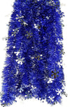 Tinsel Garland Royal Blue and Snowflakes Holiday Themed Décor 12 Feet