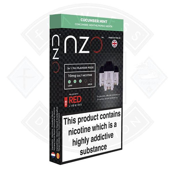NZO Pod (filled with Red Liquids) Cucumber Mint 10mg 1.7ml 3pcs