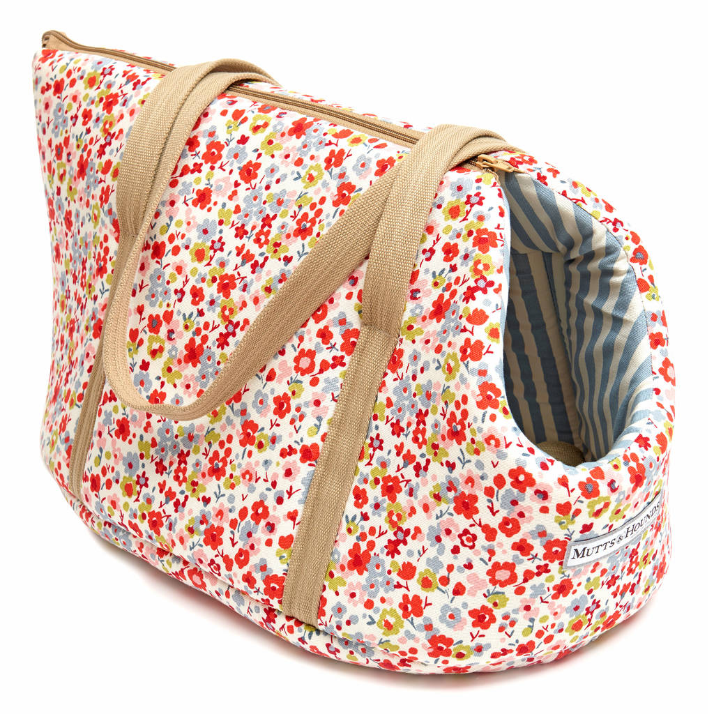 Mutts and Hounds Posie Cotton & Chambray Stripe Lining Dog Carrier