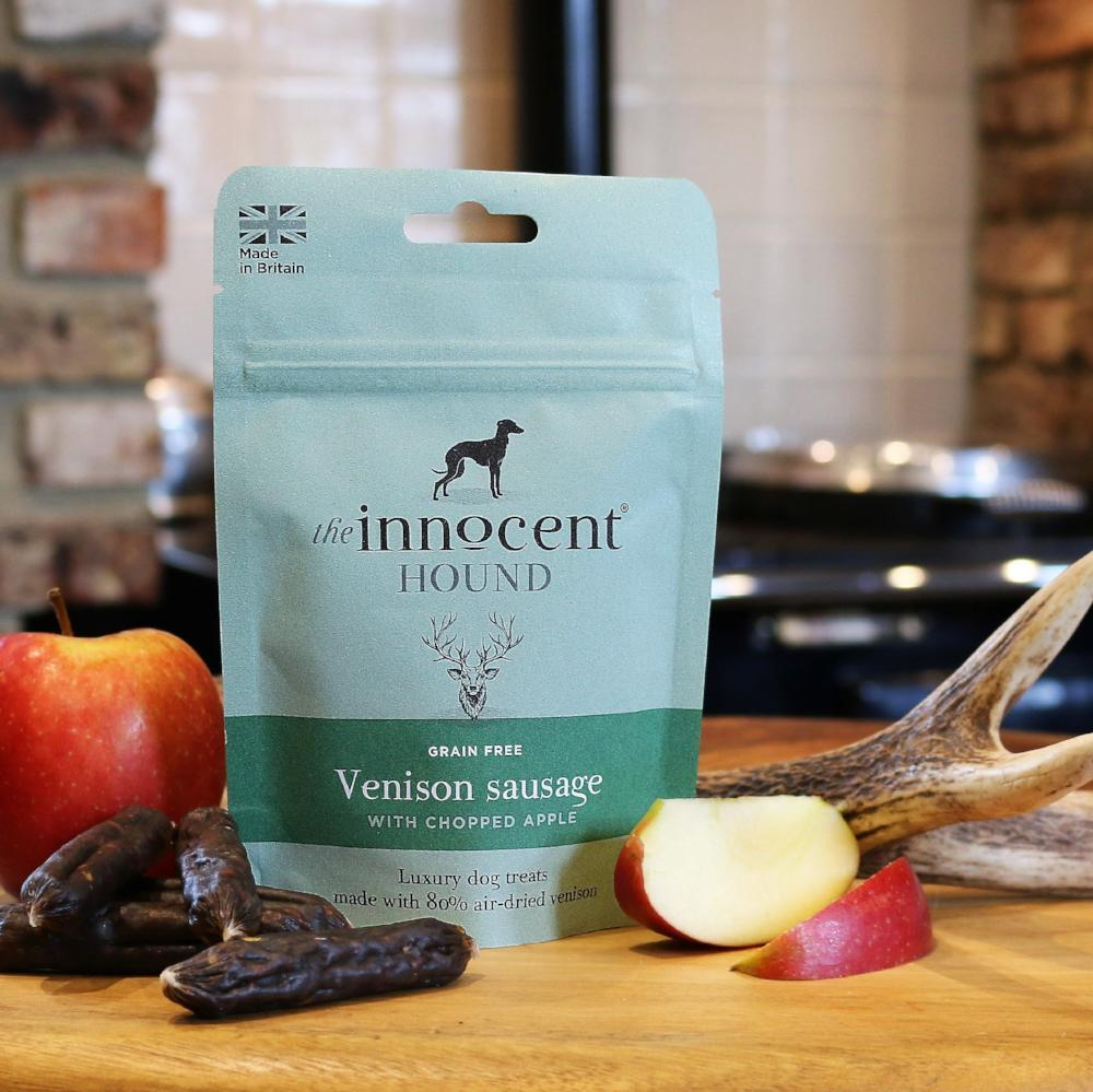 Innocent Hound Venison Sausages with Chopped Apple