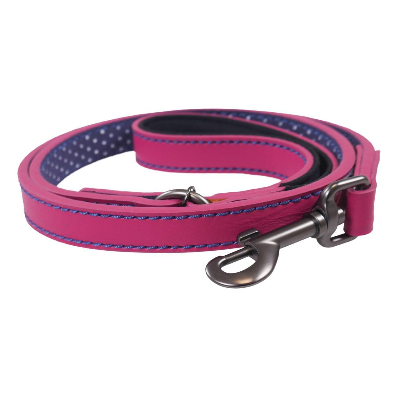 Joules Fuschia Leather Lead