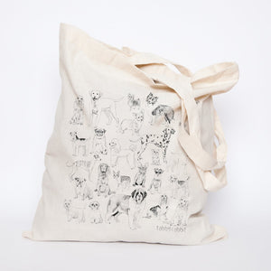 Tabby Rabbit All the Dogs Tote Bag