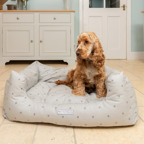 Mutts and Hounds Grey Stars & Charcoal Stripe Boxy Dog Bed
