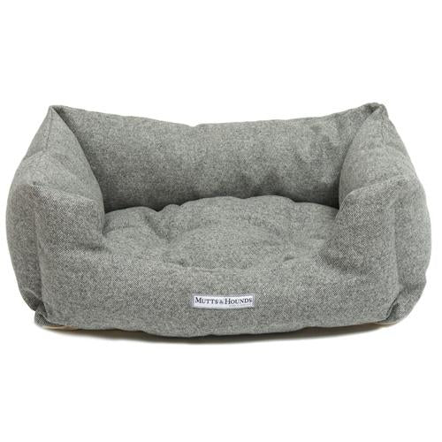 Mutts and Hounds Stoneham Tweed Boxy Dog Bed