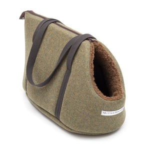 Mutts and Hounds Forest Green Tweed Dog Carrier