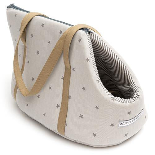 Mutts and Hounds Grey Stars & Charcoal Stripe Dog Carrier