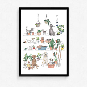 Tabby Rabbit Chaos in the Greenhouse Print