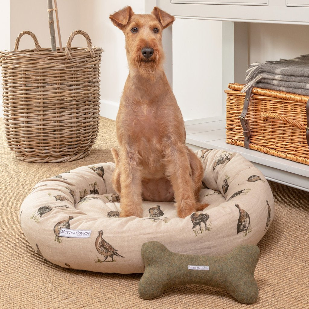 Mutts and Hounds Grouse Linen Donut Dog Bed