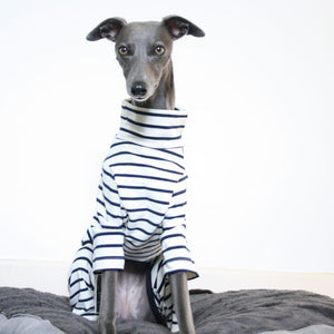 The Trendy Whippet Cream and Navy Stripe Onesie