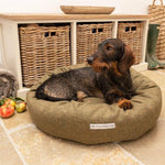 Mutts and Hounds Forest Green Tweed Donut Dog Bed