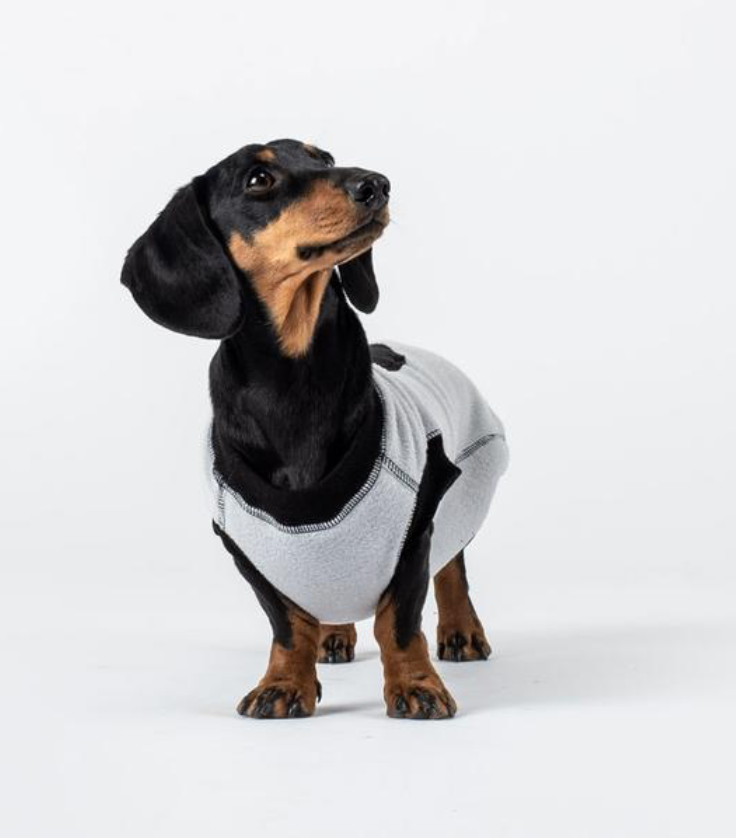 Dogsnug Water Repellent Black and Grey Dachshund Fleece