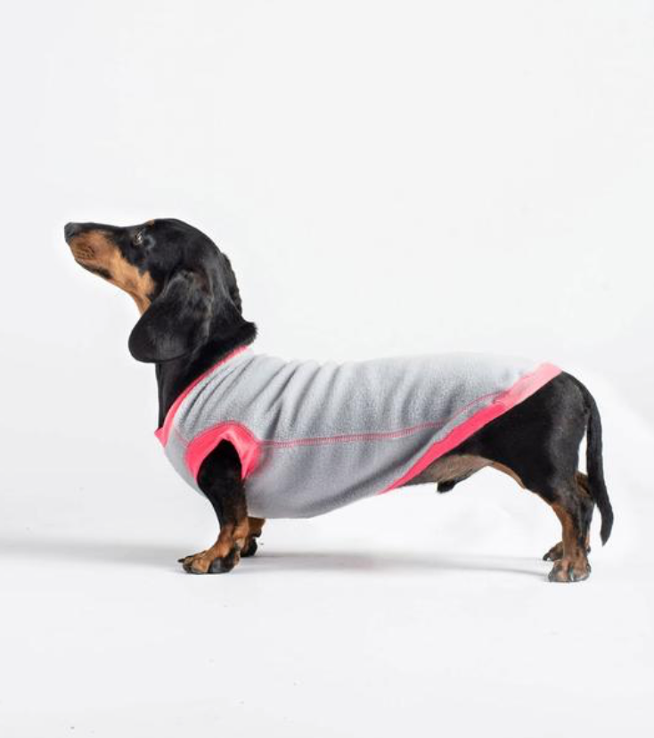 Dogsnug Water Repellent Pink and Grey Dachshund Fleece